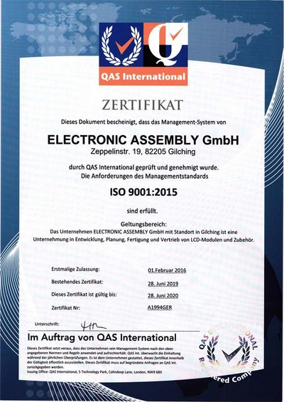 Certified quality management system according to ISO 9001:2015