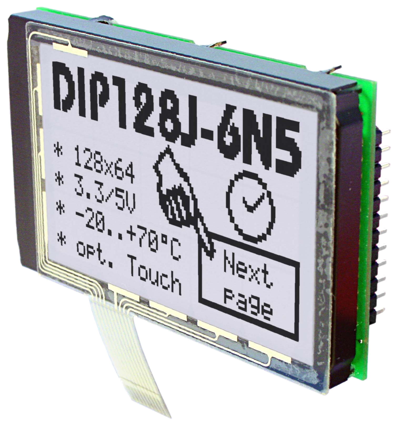 Displays in Chip on Board (COB) TEchnik, hier EA DIP128 als Grafikdisplay mit 128x64 Pixeln