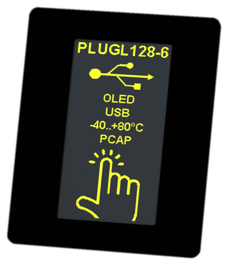 HMI display as serial OLED with USB, RS232, I²C and SPI. Including touch panel PCAP